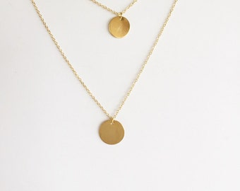 Coin necklace, Double necklace, Long necklace, Disc necklace, Layered necklace, Minimalist jewelry, Bare jewelry, Gold dot necklace, Silver
