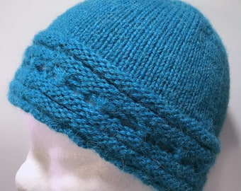 Hand Knitted Teal Alpaca Patterned Beanie