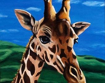 Giraffe Art, Safari Nursery Art, Boy's Nursery Art, Baby Shower Gift Under 20, Zoo Animal Nursery Print, Gender Neutral Baby