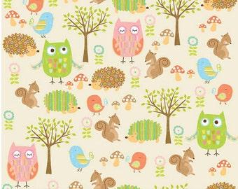 Owls & Co Friends Cream for Riley Blake -  Woodland Animals Cotton Fabric - Children's Fabric Owls -  Modern Forest Animals - 9.95 Yard