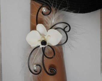 Bracelet for bride or witness - black and white with Orchid flowers