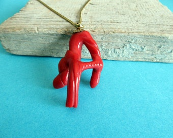 Awesome Vintage Coral Pendant.Gold and coral.