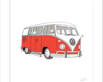 Volkswagen Camper Van / Kombi Van - Limited Edition Print
