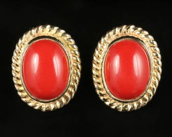 Coral Gold Stud Earrings 9ct Gold