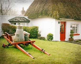 Ireland Photography, Irish Cottage, Thatched Roof, Red House, Irish Village, Adare Ireland, Irish Decor, Fine Art Photo Print, Wall Art