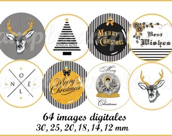 Christmas Digital collage sheet 1 inch circles printable download for pendants bottle caps bezel findings cabochon magnets