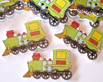 Green Train Wood Buttons Lot of 7