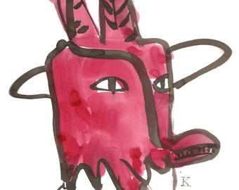 "Red Mask Hopi Kachina, Original Brush and Ink drawing 11""x13"""