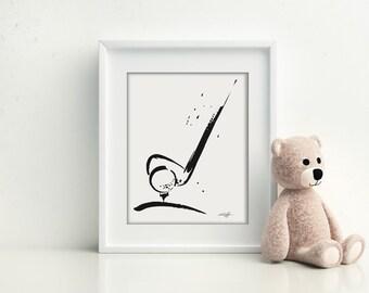Golf, Golfing, Golf Club, Minimalist sports lllustration, minimalism, INSTANT DOWNLOAD Printable Art clipart Kathy Morton Stanion EBSQ
