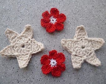 4 red and ecru cotton crocheted flowers