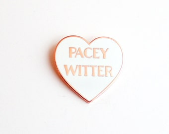 """Pacey Witter White and Rose Gold Heart Pin // Teen TV inspired // 1.25"""" hard enamel lapel pin"""