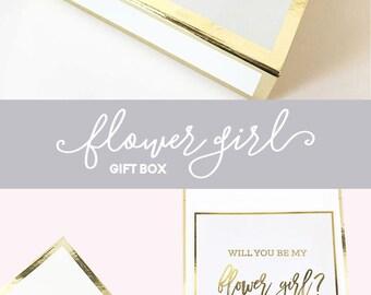 Flower Girl Proposal Box Flower Girl Basket Will You Be My Flower Girl Gift Ideas Flower Girl Gift Set Box (EB3171BPW) EMPTY inside