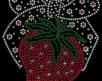 Strawberry with Bow rhinestone iron on transfer diy