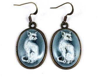 Cat earrings, resin cat earrings, blu cat