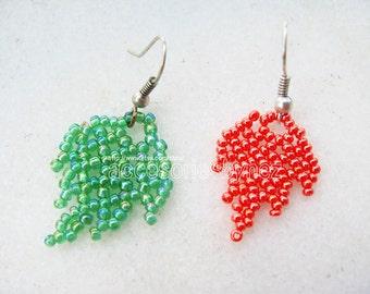 Beading Tutorial, PDF Beadwork  Pattern, Beaded  Earrings, Beading Pattern, Beading Tutorial Instructions, Leaf Earrings