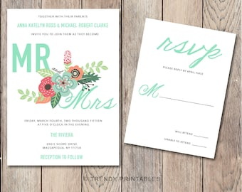 Floral Wedding Invitation, Spring Wedding Invitation, Wedding Invite, Elegant Wedding Invitation, Simple Wedding Invitation, Custom Invite