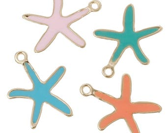 x 1 gold STARFISH pendant charm and pink or yellow enamel.