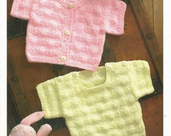 Short Sleeved Cardigan & Sweater DK Knitting Pattern (prem - 4yrs) UKHKA 79 , toddler pattern, sweater pattern