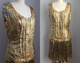 Vintage 1960s does 1920s Metallic Gold Lamé Feather Plume Print and Rhinestone Flapper Style Party Dress Size Medium with Matching Shawl 1