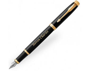 Parker IM Black with Gold Trim Fountain Pen, Personalised Pen, Engraved Pen, Graduation Gift, Wedding Gift, Birthday Gift (1931652)
