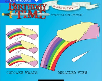 Adventure Time Cupcake Wraps - INSTANT DOWNLOAD - Printable Birthday Decorations - Lady Rainicorn
