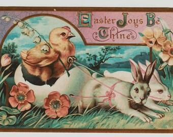 Vintage Easter Postcard, Hen Pulling a Wheeled Egg Cart, Chicks in Cart