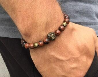 Men's obsidian bracelet, Yoga mala bracelet, Natural gemstone bracelet, Boho beaded stretch bracelet, Gift for men, Wildcoastjewels