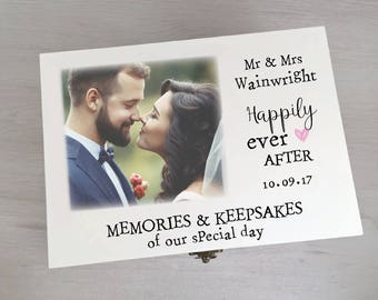 Gorgeous Personalised Wedding Memory Keepsake Box Printed With Your Own Photo Gift Box Memory Box Keepsake Box Memento