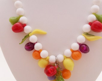 Vintage 60's Beaded Fruit Salad Necklace