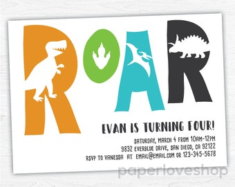 Dinosaur birthday invitation - DIY printable