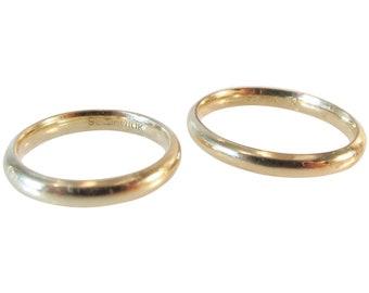Pair Wedding Ring Bands 1/10 10K Sterling Vintage