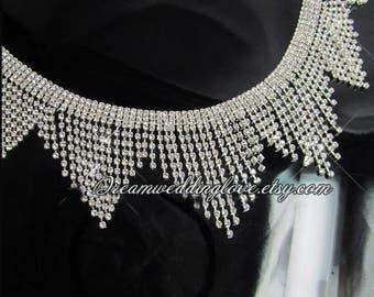 Tassels Rhinestone Trim, 1/2 Yard, Crystal applique, neckline applique, collar diamante applique, wedding shoe Crystal applique, DIY Wedding