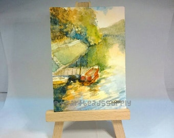 original aceo, Little Red Boat, peinture, painting, wallart, landscape id1340886 watercolor, not a print, wall art, gift ideas | nature