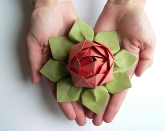 Origami Lotus Flower Decoration or Favor // Papaya and Moss Green