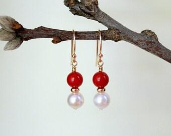 Pearl Earrings, Coral Earrings, 14K Solid Gold Earrings, 14K Yellow Gold Pearl and Coral Earrings, Akoya Pearl Earrings, Bridal Earrings