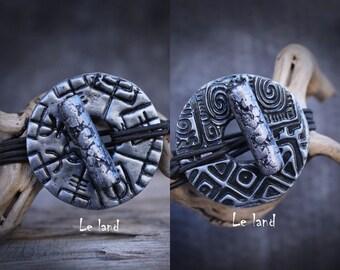 Black and silver dread tie viking compass hair jewelry dreadlocks hair tie dread holder Loc hair tie dread hair tie Dreadlock Accessories
