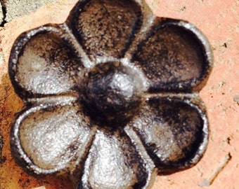 Rustic Cast Iron Cabinet Knob, Dresser Drawer Pull, Closet Door knob, Cupped Flower shaped Brown