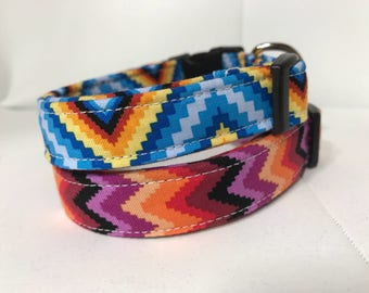 Dog Collar - adjustable side release or martingale -navajo southwest Aztec inspired blue and purple print