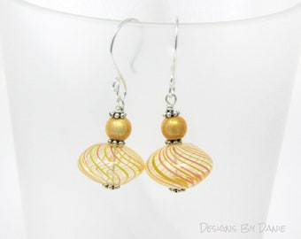 Yellow and Red Earrings, Hollow Glass Earrings, Yellow Cats Eye, Simple Earrings, Swirl Glass Earrings