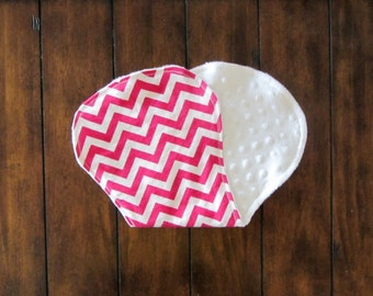 Sale! Chevron Hot Pink and White Baby Burp Cloths