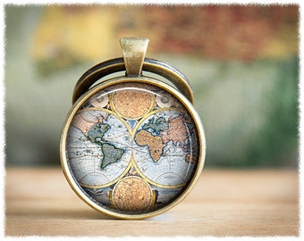 World Map Keychain • Gift For Traveller • Vintage World Map Keyring • Long Distance • Antique Map Keychain
