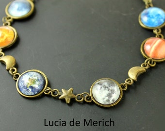 Solar System Bracelet -  Planet Jewelry - Astronomy, Space, Universe, Planetary Jewelry-Christmas gift