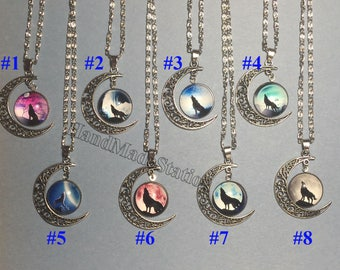 """Hollow Moon Time Gemstone Wolf Totem Pendant Silver Chain Moon 18"""" Necklace"""