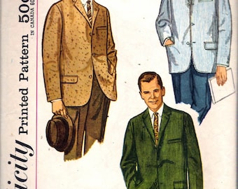 """Vintage 1960 Simplicity 3647 Men's Jacket Sewing Pattern Size 40 Chest 40"""""""