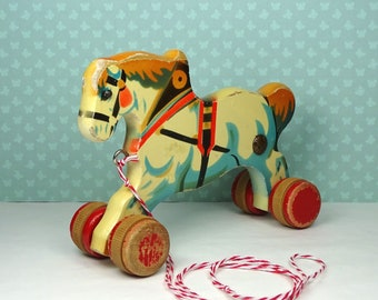 Vintage Verhofa horse pull toy 1930s wooden