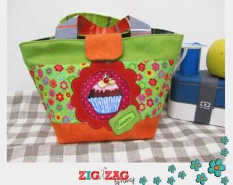 "Yummy Cupcake bag (snack / picnic) ""Apple & Orange"" (16 x 16 / h 20 / opening 32 cm)"