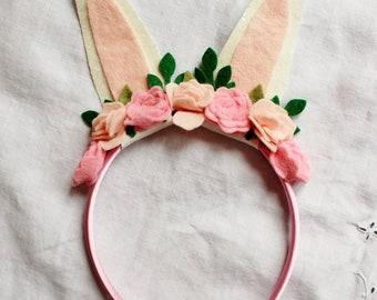 Pink Bunny Ears Headband Alice Band with felt flowers, Spring Hair Clip, Bunny Ears Headband, Easter Hair Bow, Rabbit Ears Hair Clip