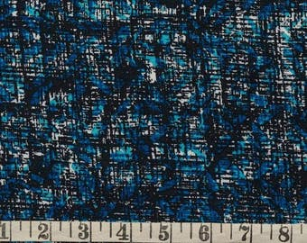 "Abstract Crosshatch Print in Aqua, Teal, Black and White  - Confetti Fabrics 100% Viscose Rayon Crepe 58"" Wide Medium Weight - Half Yard"