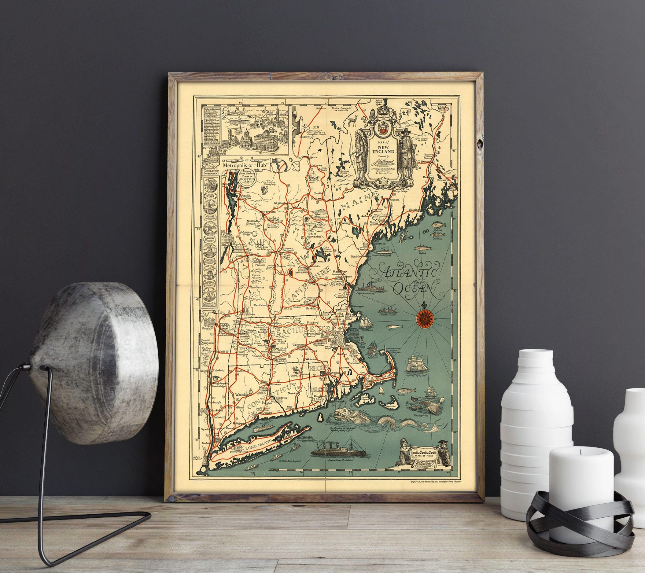 Old Map of New England Atlantic Ocean Map Vintage USA Map