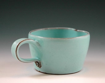 Small turquoise mug, for espresso, mulled wine or or for children.